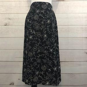 Talbots Black Floral Print Skirt Size 8 Petite
